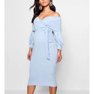 Gorgeous maternity dress off shoulder baby blue
